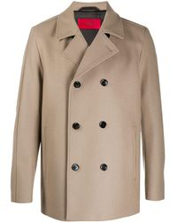 HUGO Double-breasted Wool Coat - Natural