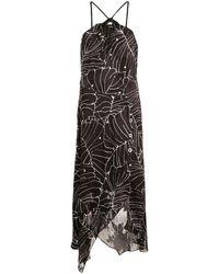 Yigal Azrouël Vestido con estampado tropical - Negro