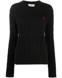 AMI Ami De Coeur ケーブルニットセーター - ブラック