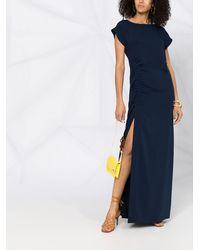 P.A.R.O.S.H. Платье С Короткими Рукавами И Сборками - Синий