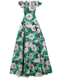 Oscar de la Renta Floral-jacquard Off-the-shoulder Gown - Black