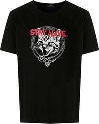 À La Garçonne Cat Print T-shirt - Black