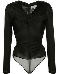 Fleur du Mal Twisted Ruche Bodysuit - Black