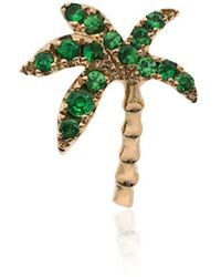 Yvonne Léon - 18k Yellow Gold And Emerald Palm Tree Single Earring - Lyst