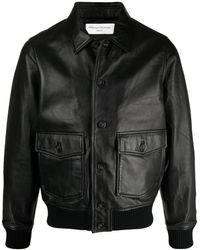 Officine Generale Button-up Leather Jacket - Black