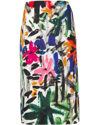Marni Straight Fit Floral Skirt - Black