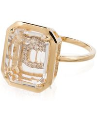 Mateo 14kt Gold C Initial Ring - Metallic