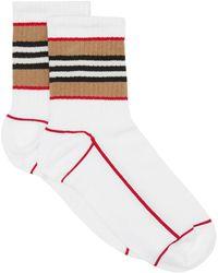 Burberry Socken mit Logo-Streifen - Weiß