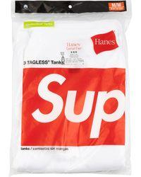 Supreme 3er-Set 'Hanes' Trägershirts - Weiß