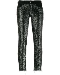 Liu Jo Embroidered Skinny-fit Trousers - Black