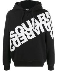 DSquared² Kapuzenpullover mit doppeltem Logo - Schwarz