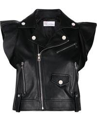RED Valentino Ruffle-trim Sleeveless Leather Jacket - Black