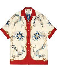 Gucci Nautical-print Bowling Shirt - Multicolour