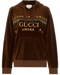 Gucci Embroidered logo hoodie - Marrone