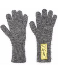 Raf Simons Logo-patch Wool-blend Gloves - Grey