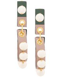Marni - Pearl Leather Earrings - Lyst