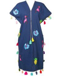 Dolci Follie Pineapple Embroidered Kaftan - Blue