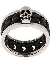 Alexander McQueen Ring Met Vlakken - Zwart
