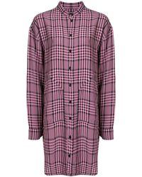 Colville Клетчатая Рубашка С Асимметричным Подолом - Розовый