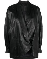 FEDERICA TOSI オーバーサイズ レザージャケット - ブラック