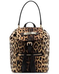 b44485e193 Moschino - Black And Brown Logo Leopard Print Leather Backpack - Lyst
