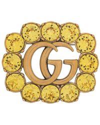 Gucci Брошь С Кристаллами И Логотипом Double G - Желтый