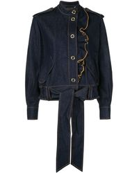 Karen Walker Coriolis Ruffle Trim Jacket - Blue
