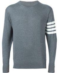 Thom Browne Striped Merino Wool Jumper - Grey