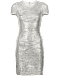 Alice + Olivia - Metallic Round Neck Dress - Lyst