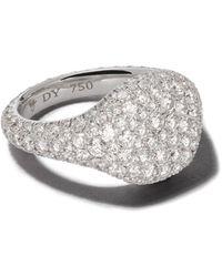 David Yurman - Signature ダイヤモンド ピンキーリング 18kホワイトゴールド - Lyst