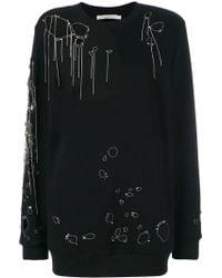 Amen Distressed Knitted Jumper - Black