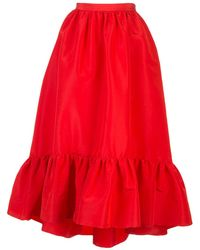 Adam Lippes Silk Faille Ruffle Hem Skirt - Red