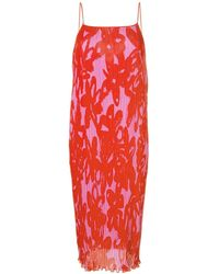 Diane von Furstenberg - Floral Shift Pleated Dress - Lyst