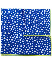Kiton ポルカドット ポケットチーフ - ブルー