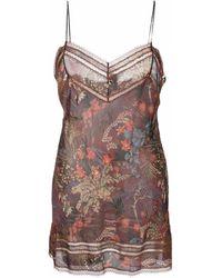 Carine Gilson Floral Silk Night Dress - Brown