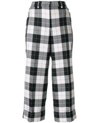 Thom Browne - Sack Trouser With Fray In Large Buffalo Check Wool/ Cotton Sable - Lyst
