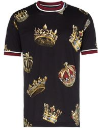 Dolce & Gabbana - Short Sleeved Crowns Print T-shirt - Lyst