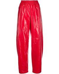 Bottega Veneta Pantaloni a vita alta verniciati - Rosso