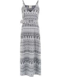 Framed Printed Midi Dress - Metallic