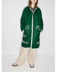 Bode Garfield Appliqué Merino Wool Coat - Green