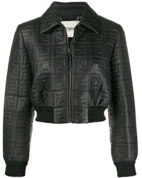 Fendi Укороченная Куртка С Тисненым Логотипом - Черный