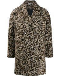 Liu Jo Double Breasted Leopard Print Coat - Brown
