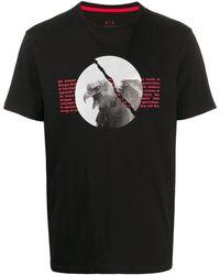 Armani Exchange プリント Tシャツ - ブラック
