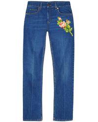 Gucci 刺繍ディテール ストレートジーンズ - ブルー
