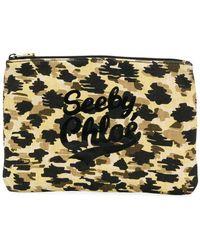 See By Chloé Leopard Print Logo Makeup Bag - Multicolor