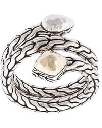 John Hardy Sterling Silver And 18kt Bonded Yellow Gold Classic Chain Hammered Coil Ring - Metallic