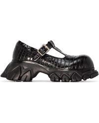 Angel Chen Crocodile-effect Chunky Shoes - Black