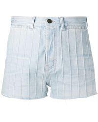 Saint Laurent Pantalones vaqueros cortos de talle alto - Azul