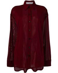 Victoria Beckham Camisa de gasa con paneles transparentes - Rojo