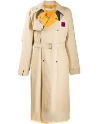Off-White c/o Virgil Abloh Contrast Lapel Trench Coat - Natural